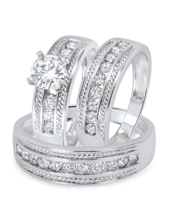 Diamond Wedding 14K White Gold Finish His Her Bridal Band Engagement Ring Set