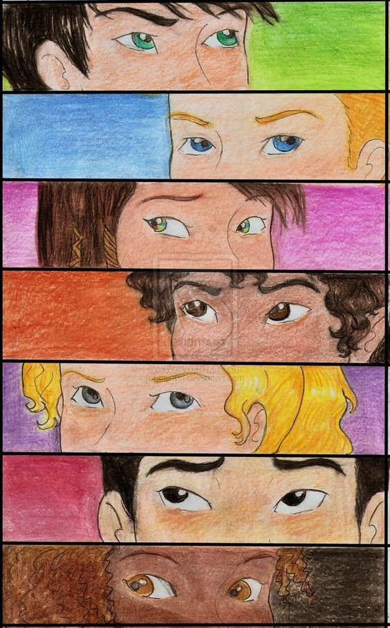 Percy, Jason, Piper, Leo, Annabeth, Frank, Hazel ~Seven half bloods shall answer the call to storm or fire the world will fall, an oath to keep with with a final breath and foe bears arms to the doors of death