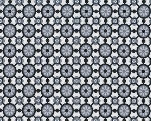 Feiner Baumwolljersey ROSINA, Blüten-Fliesenmuster, schwarz-grau
