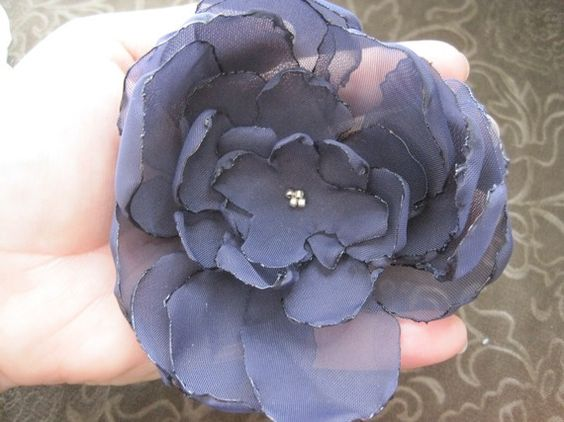Navy Blue Bloom hair clip broach embellishment by DarlingPetals, $15.00
