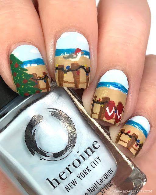Nailmas Wrap Up 2018 25 Sweetpeas Beach Nails Christmas Nail Art Christmas Nails