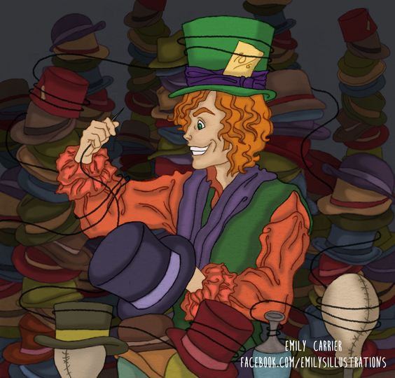 """I'm Not All There Myself""  A piece inspired by the Mad Hatter from Alice in Wonderland.  pen and ink with digital coloring"