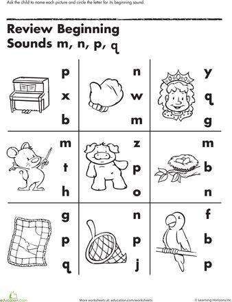 math worksheet : review beginning sounds  beginning sounds worksheets and other : Q Worksheets For Kindergarten