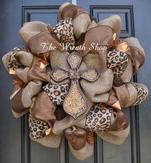Fall Burlap Cross Wreath - Cross Leopard Print Wreath