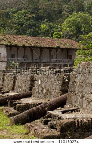 Cannon battery in San Jeronimo colonial spanish fortress. Portobelo, Colon province, Panama, Central America. by Alfredo Maiquez, via ShutterStock
