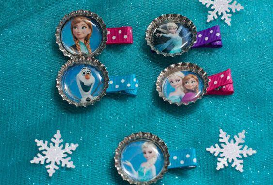 Set of 10 Frozen Bottle Cap Hair Clips Party Favors
