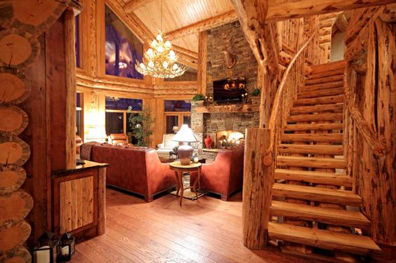 Montana Log Homes - stairway