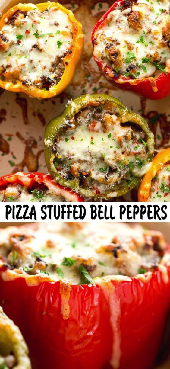 Pizza Stuffed Bell Peppers Recipe In 2020 Stuffed Peppers Salmon Recipes Recipes