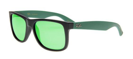 Ray-Ban Justin Preto Fosco - Lente Espelhada Verde - RB 4165L