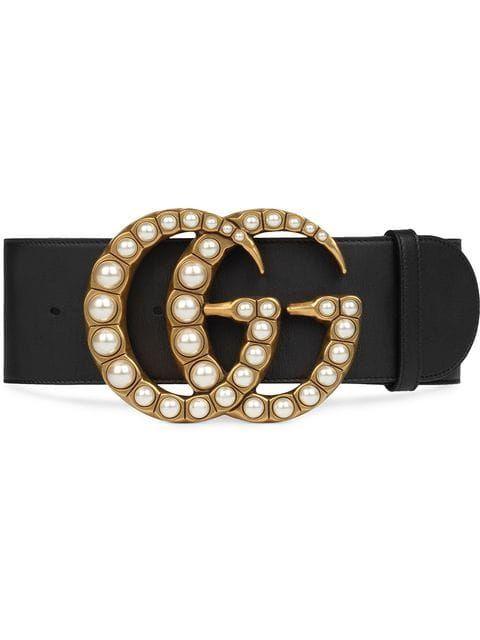 Violeta blanco como la nieve collar  Gucci Cinturón Ancho De Piel Con Doble G De Perlas - Farfetch | Cinturones  anchos, Gucci cinturon mujer, Cinturones de moda
