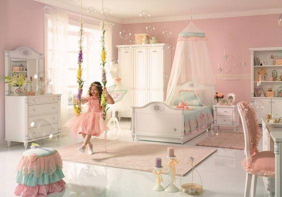 Prinsessenkamer in mint en roze