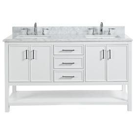 Allen Roth Presnell 61 In Dove White Double Sink Bathroom Vanity