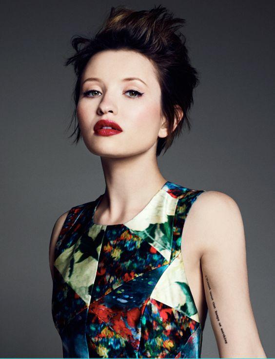 Emily Browning: perfect hair, makeup, dress, tattoo