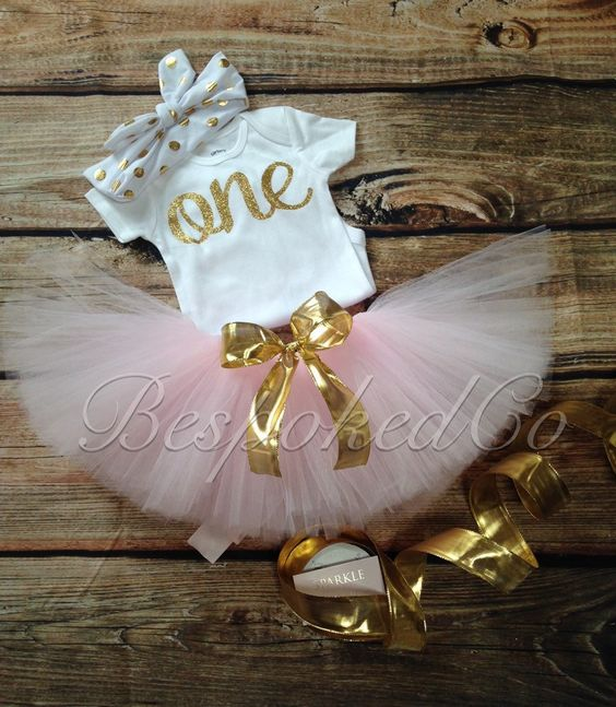 Baby girls first birthday outfit with knotted headband/Gold One 1st Birthday Outfit/Pink and Gold One Birthday Outfit - pinned by pin4etsy.com