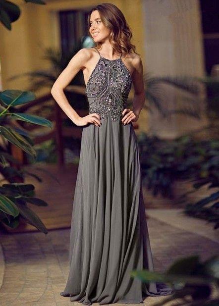 Backless atractivo del A-Line gris de gasa Kaftan vestido de noche Halter…: