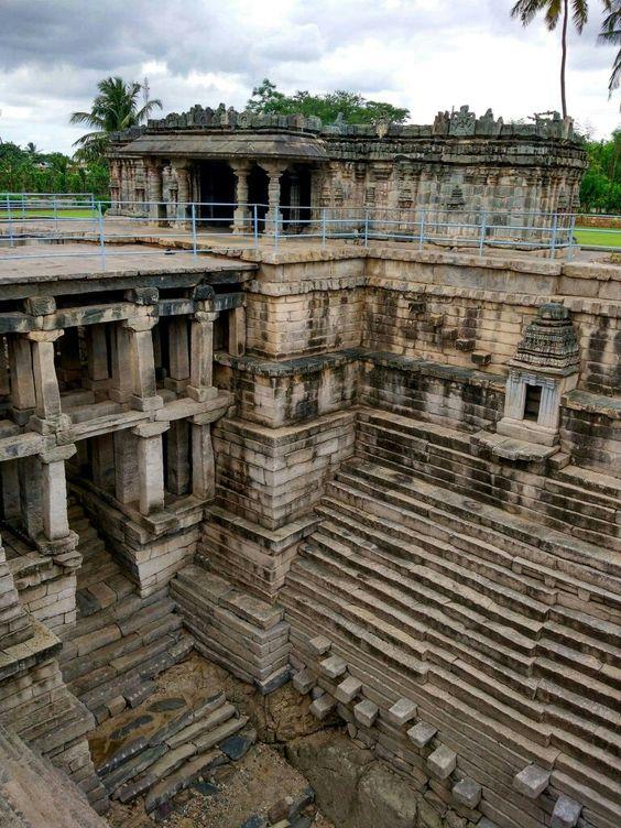 Stepped well (Muskin bhanvi) at the Manikesvara Temple in Lakkundi, Gadag District, Karnataka state