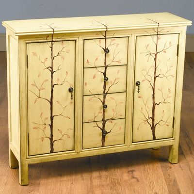 AA Importing Four Drawer Chest in Distressed Light Brown with Tree Branches