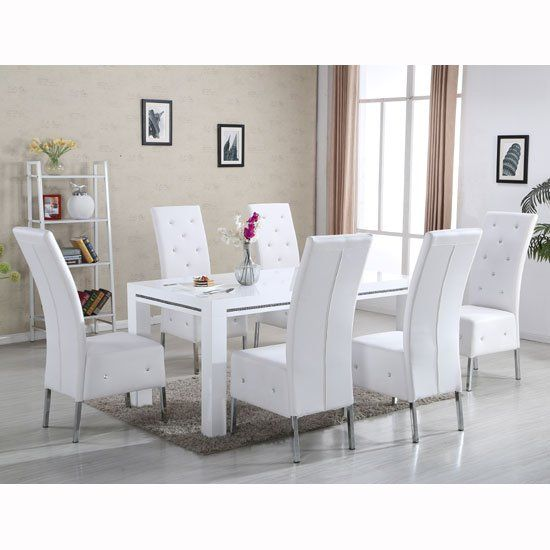 Diamante Dining Table In White High Gloss With 6 Asam Chairs