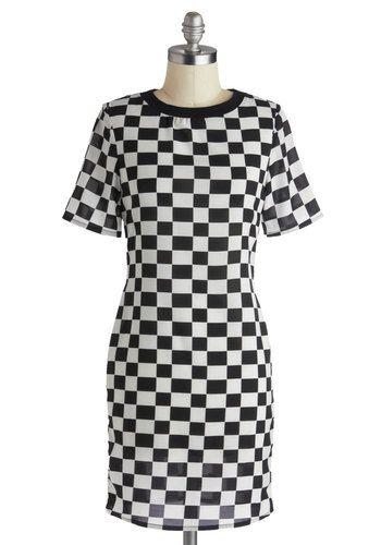 By My Sidecar Dress - Chiffon, Sheer, Mid-length, Black, White, Checkered / Gingham, Casual, Sheath / Shift, Short Sleeves, Crew, Party, Gir...