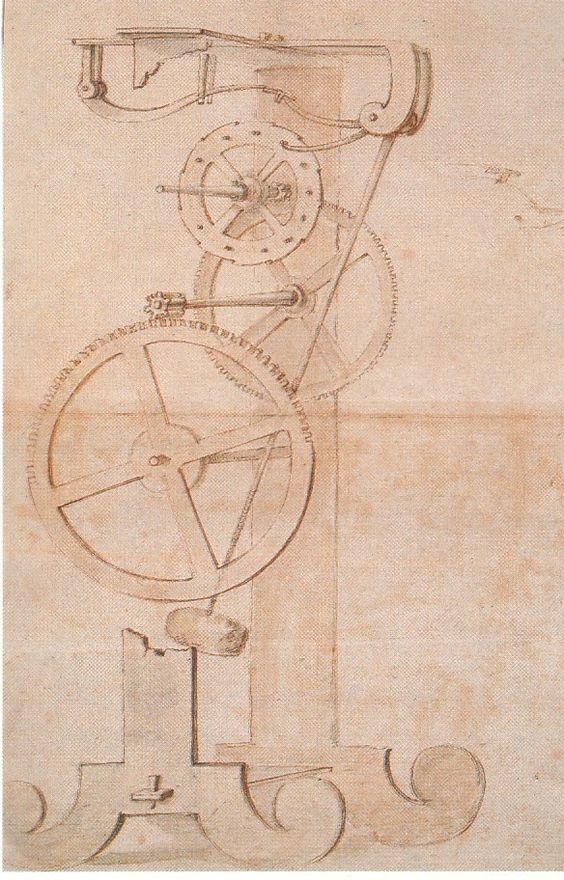 study of a mechanical clock by Galileo Galilei, Biblioteca Nazioanale Florence.