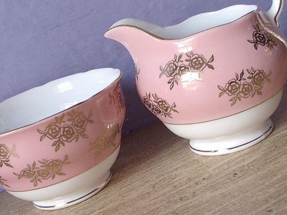 Vintage 1940's English creamer and sugar bowl set, Colcough pink china creamer, Antique creamer, Bone china sugar bowl, Gold roses china set
