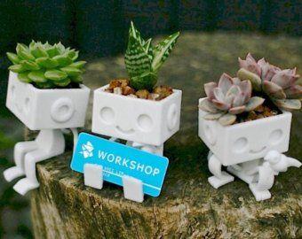 3dprinted Robot Tout Mignon Vase Pour Plante Grasse Etsy Pot