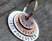Custom Pet ID Tag - Jackson - in Layered Mixed Metal (Copper, Bronze, Aluminum)