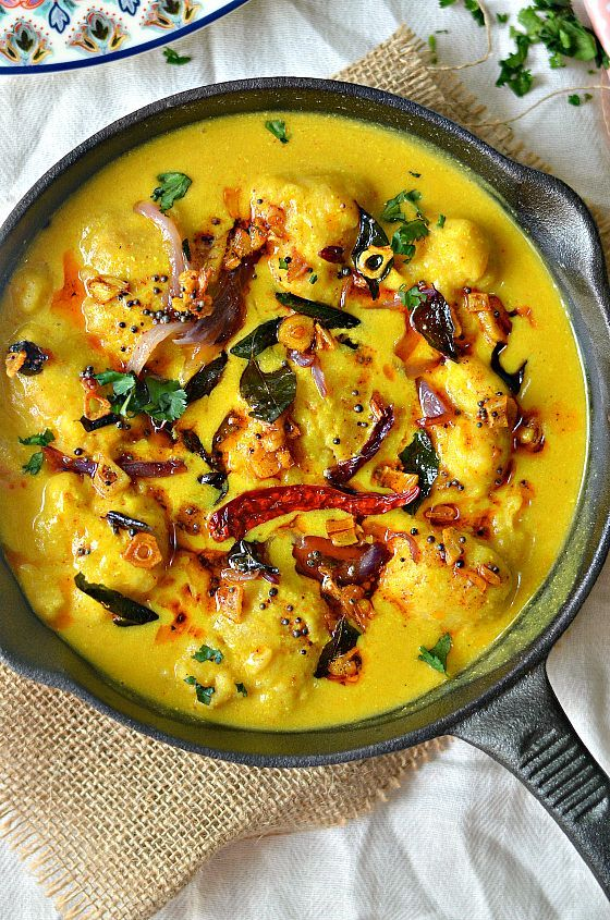 "India's fav fall recipe! Gram flour dumplings in spiced yogurt sauce- ""Punjabi Kadhi Pakora"" Have a bowlful of hot Kadhi with rice to feel the warmth settling in."