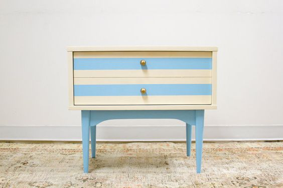 this is lovely. I want to go thrifting now, for some stuff to paint. summer projects! / Updated Mid Century Nightstand Ivory and Aqua via Etsy