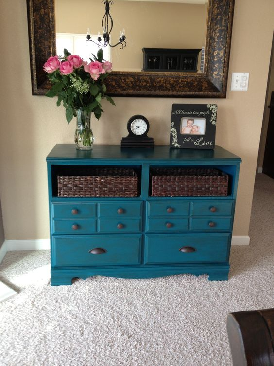 Refinished Dresser Was Thinking Colors Would Be Nice For Bedroom Refinishing Furniture Ideas T Nursery