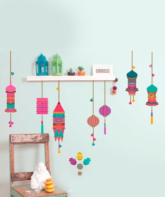 India faroles hamsa vinilo adhesivo decoraci n de for Decoracion paredes vinilos adhesivos