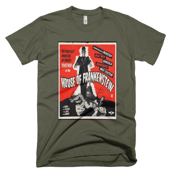 House of Frankenstein, men's t-shirt, this design is from an original vintage movie poster. http://www.wildburrocustomtshirts.com/vintage-movie-vaudeville-poster-apparel/