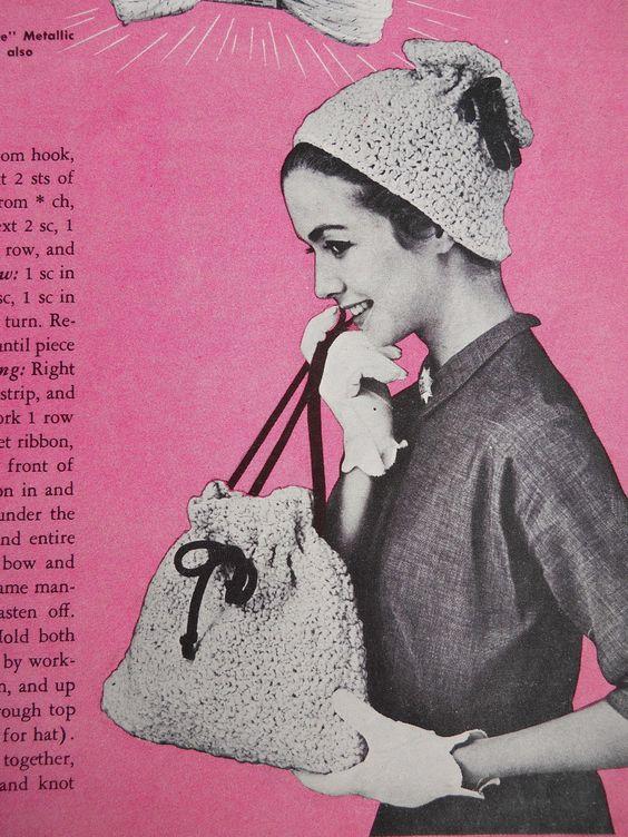 1950s crochet hat and handbag