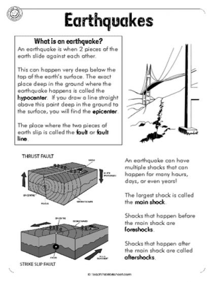 Earthquakes (6pg) | natural disasters | Pinterest | Worksheets