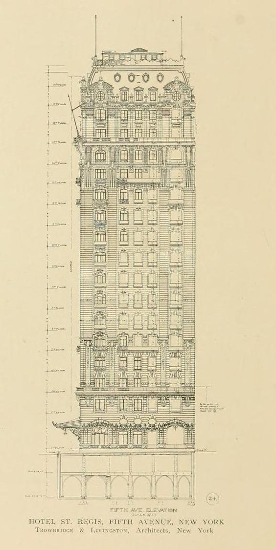 Character Design Nyc : Elevation drawing of the hotel st regis in new york