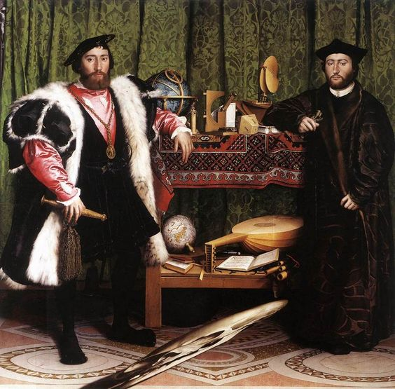 Holbein, Les ambassadeurs, 1533, hsp, 207 x 209,5cm, Londres, The National Gallery