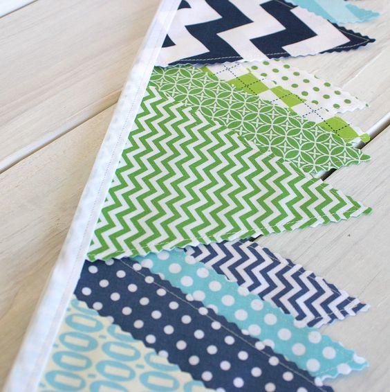 Bunting Banner Fabric Flags - Navy Blue, Green and Aqua Blue Chevron