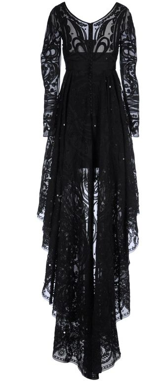 love the pattern on this gown with black high low skirted gown and lace detailing