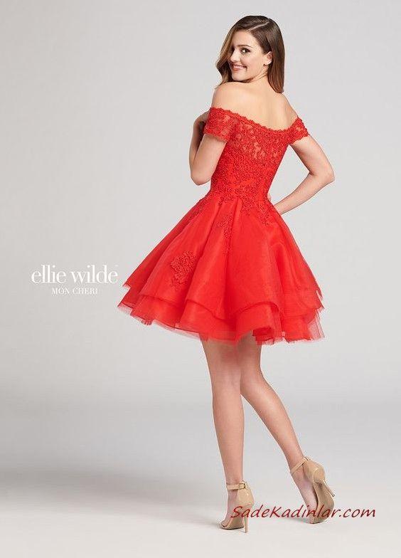 2020 Ellie Wilde Kisa Abiye Modelleri Kirmizi Straplez Dantel Klos Tul Etekli Mezunlar Gecesi Elbiseleri The Dress Dantel Elbise