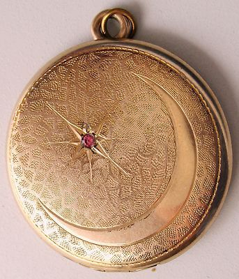 UNIQUE Antique Victorian Locket CRESCENT MOON Ruby STAR Textured ROSE GOLD 1900s | eBay