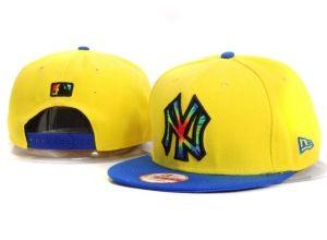 Casquette NY New York Yankees MLB Snapback Jaune Bleu : Casquette Pas Cher