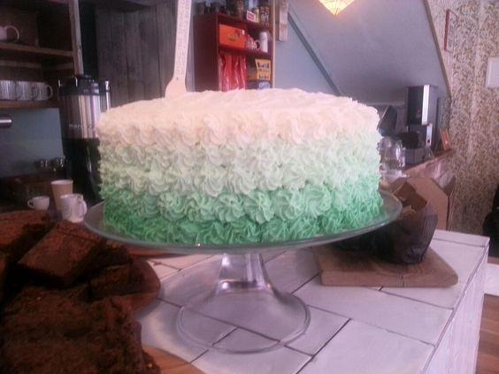 Ombre mint green icing