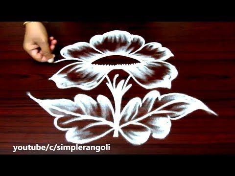 Beautiful Rose Rangoli Designs With Out Colors Simple Kolam With 5 Dots Innovative Muggulu You Rangoli Designs Flower Flower Rangoli Small Rangoli Design
