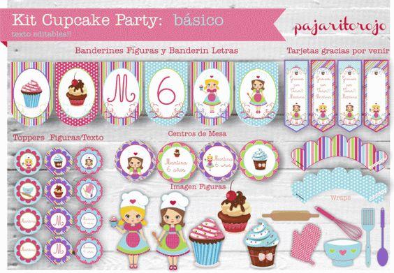 KIT IMPRIMIBLE CUPCAKE PARTY - Infantiles - Arte - 497501