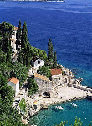 View of the coast and harbour from Trsteno, Dalmatia, Dalmatian Coast, Croatia.