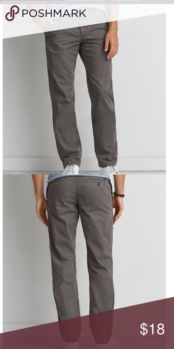 American Eagle gray road men's 34x32 chino pant Excellent used condition- American Eagle Gray Road men's relaxed straight leg chino pants.  Size 34 x 32. Bought in 2015 and they still sell this style in stores and online.  My son used as school pants for a few months but quickly grew out of them. American Eagle Outfitters Pants Chinos & Khakis