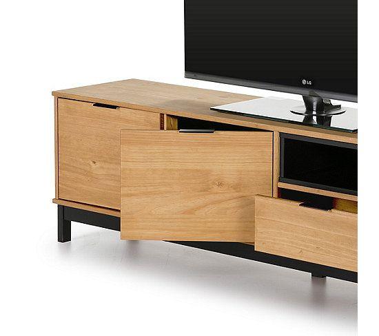 Meuble Tv Style Atelier Bronx 3 Portes 1 Tiroir Bois Massif Et Noir Meuble Tv But Tiroir Bois Meuble Tv Bois Massif