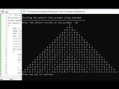 C To Display The Pattern Like Pyramid Using The Alphabet