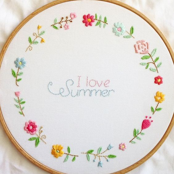 Embroidery flower wreath cross stitch pinterest