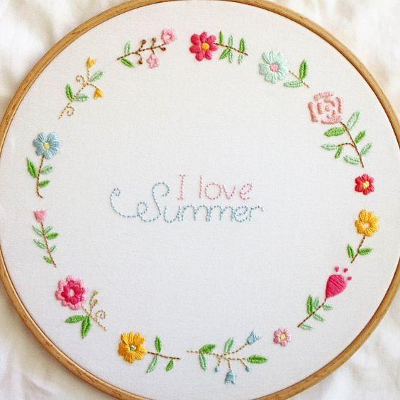 Embroidery flower wreath cross stitch pinterest
